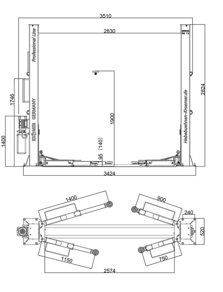 Bild 6: 2-Säulen-Hebebühne Halbautomatisch 4.5t Mainz