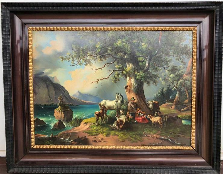 Sehr altes Öl Gemälde auf Metall