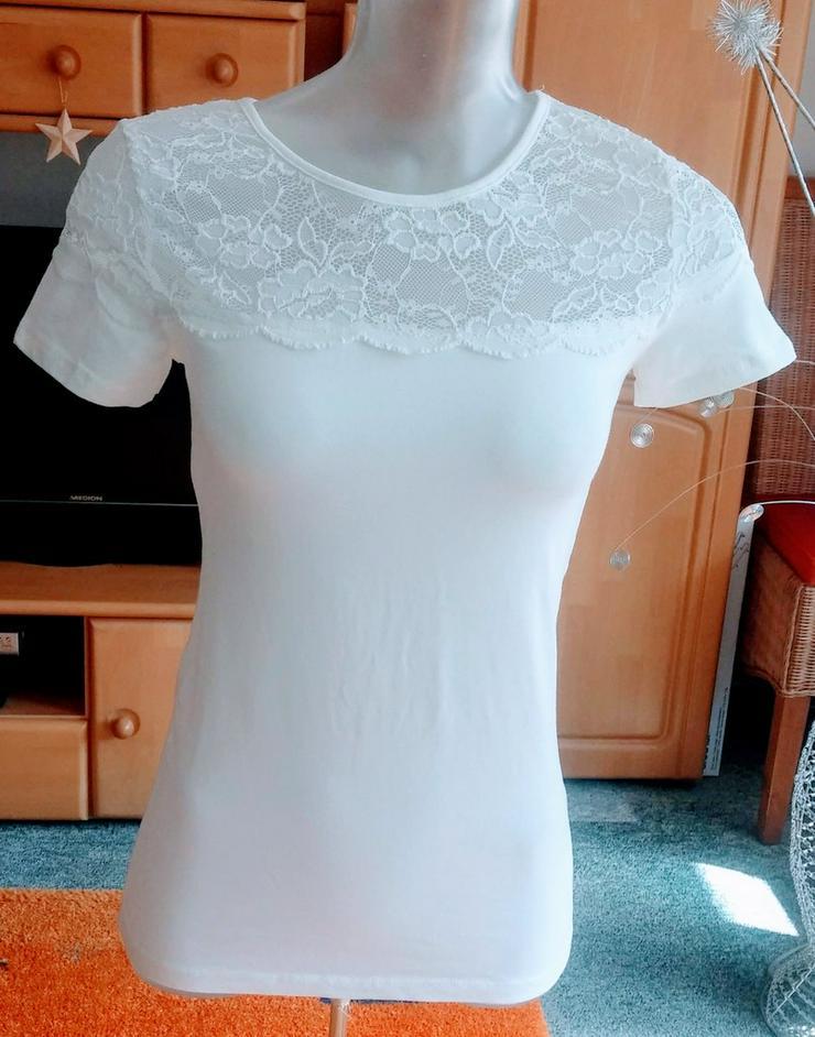 Damen T-Shirt leichte Bluse mit Spitze Gr.36