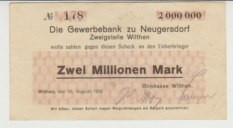 Notgeldschein 2 Mio Mark Wilthen Bautzen