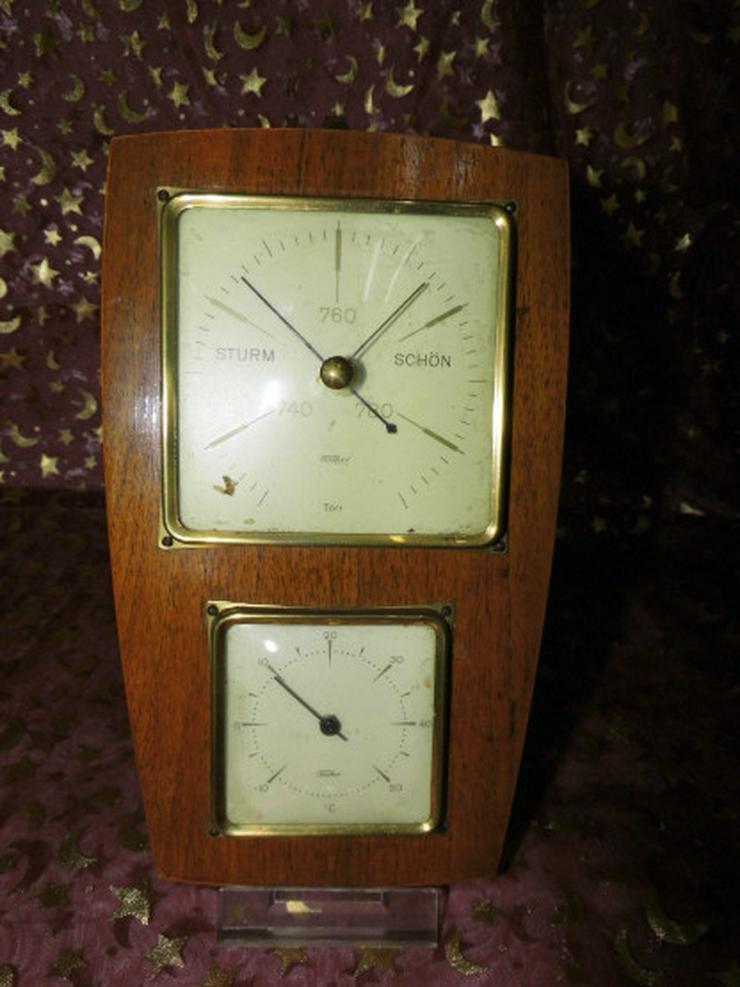 DDR Zimmerbarometer mit Thermometer / Holz Wet