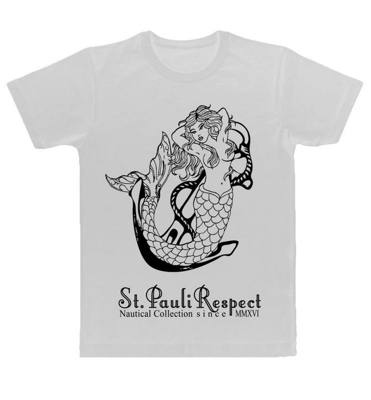 St. Pauli t-shirt , Meermaid auf Anker,