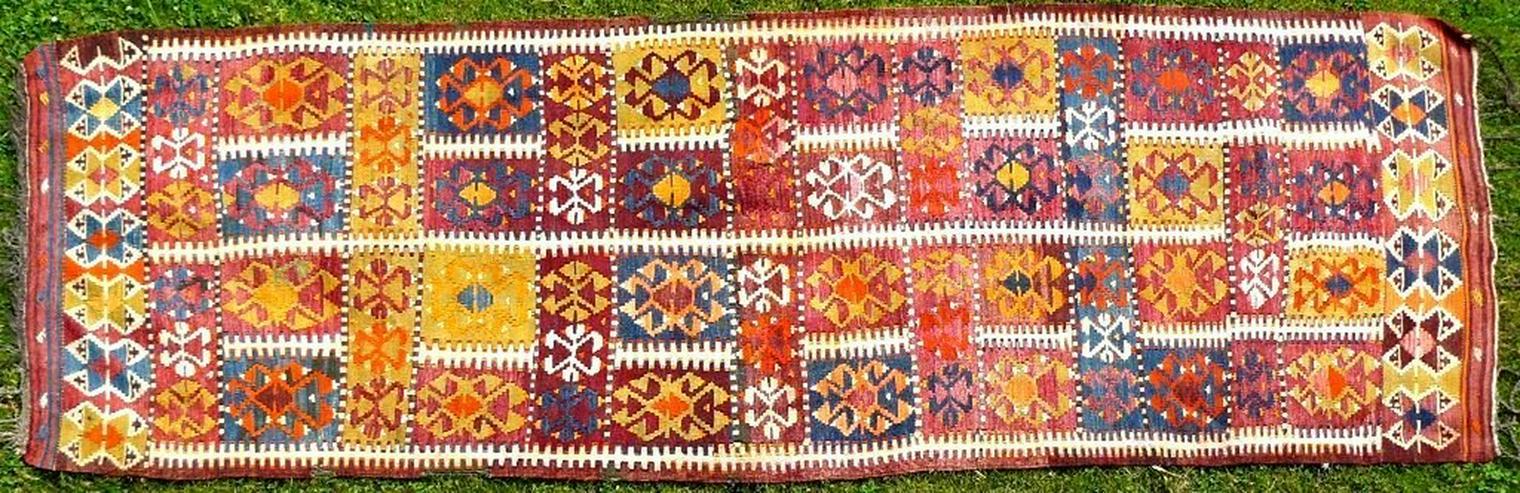 Kazak Kasak Kelim antik 390x126 (T012) - Bild 1