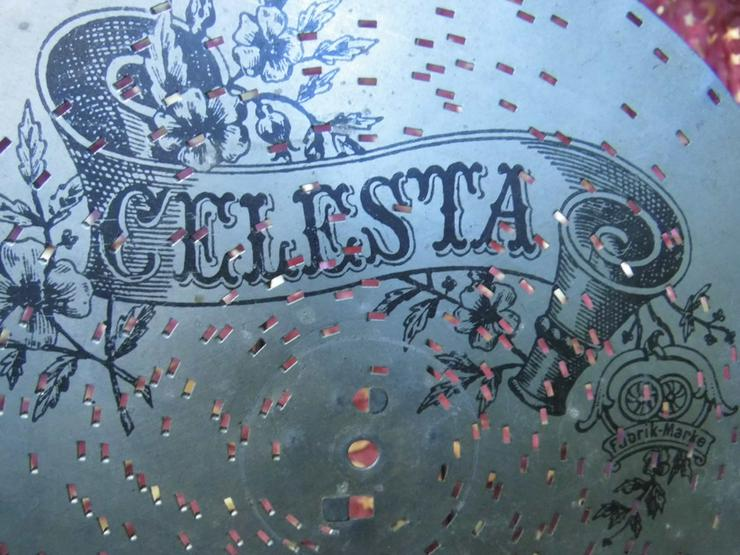 Bild 2: Celesta Polyphon - Platte, antike Lochplatte /