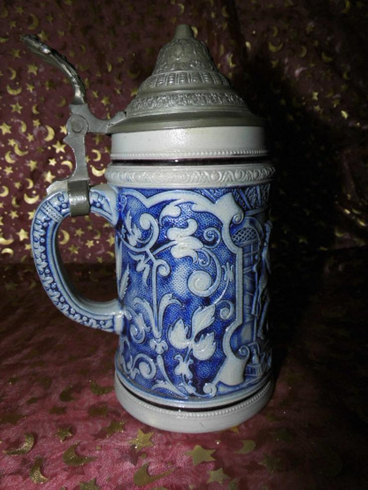 Bild 4: Antiker Bierkrug Steinzeug ca.1900 / feiernde
