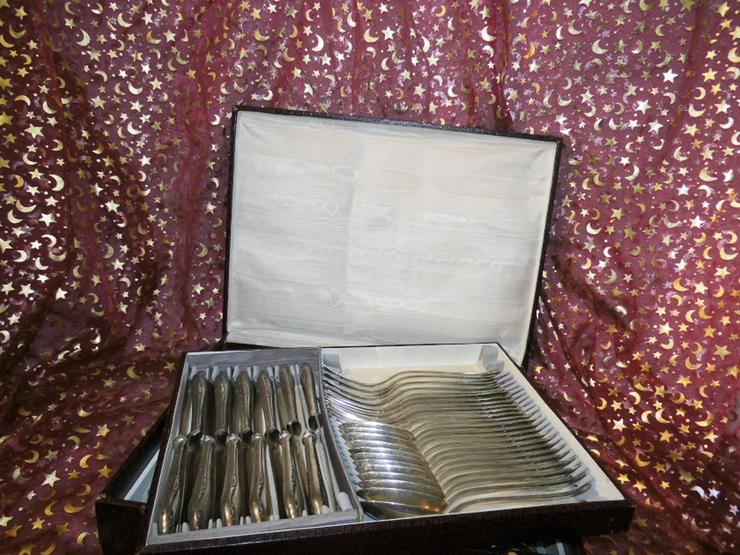 Antikes Besteckset im Koffer, 84teilig / baroc