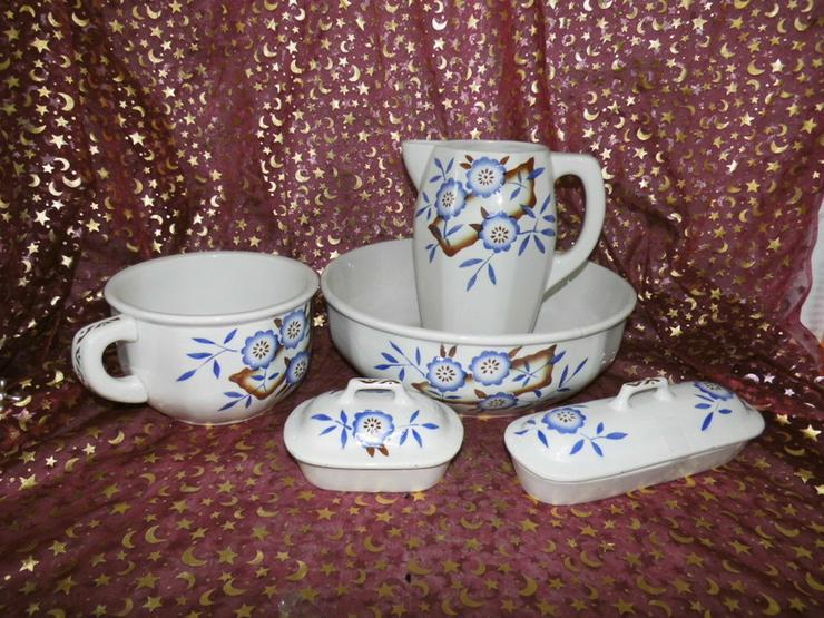 Antikes Waschset 5tlg. / Schönes Keramik Toile