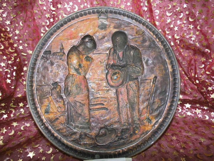 Bild 6: Antiker Zierteller aus Kupfer um 1925 / Bild B