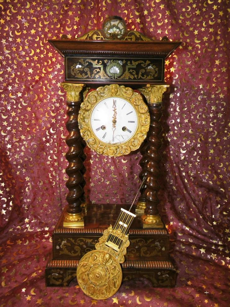 Antike Kaminuhr / Portaluhr / 4 Säulenuhr / Ed - Uhren - Bild 1