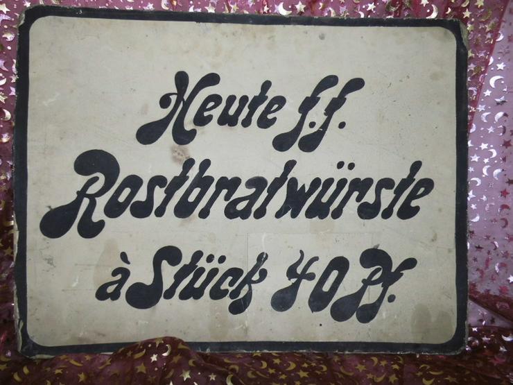 Antikes Werbeschild aus Fleischerei / Heute f.