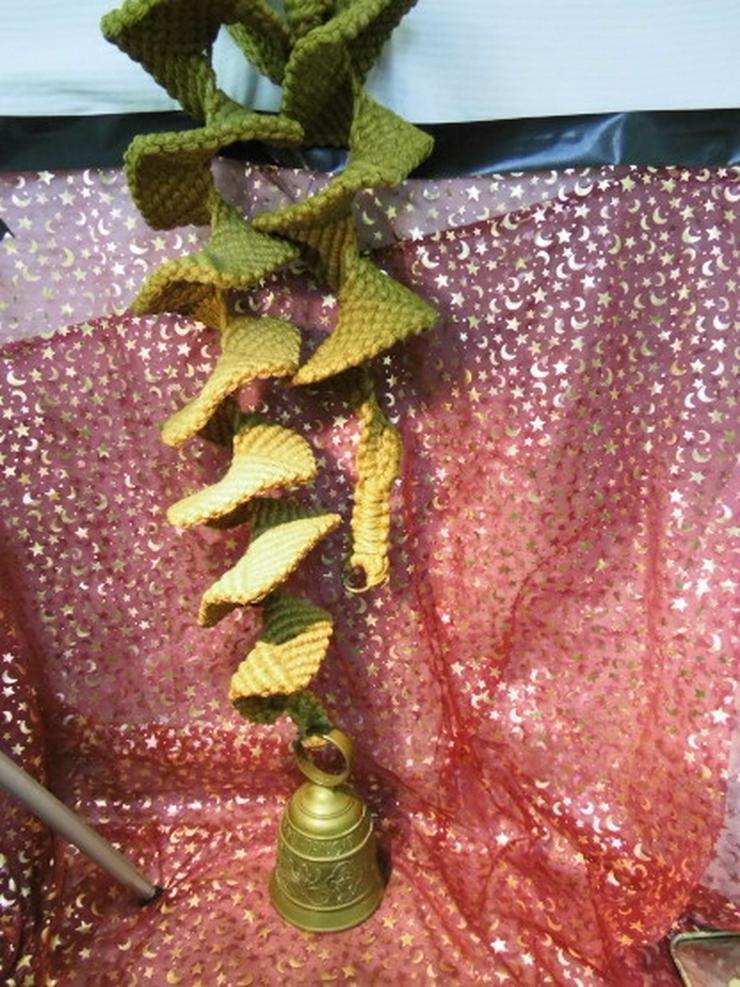 Bild 2: Antike Messing Türglocke mit gewebter Hanfaufh