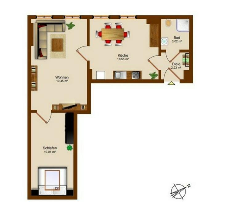 Bild 5: 6,5 Prozent Mietrendite: Renovierte 2-Zimmer-Wohnung in Hof