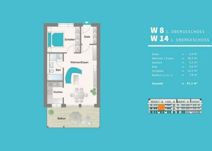 Bild 2: Charmante 2 Zimmer-Neubau-Eigentumswohnung mit Einbauküche in Hof-Krötenbruck