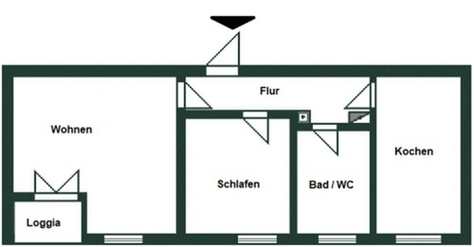2-Raum-Wohnung mit Loggia, Einbauküche und Garage Nähe Dresden!