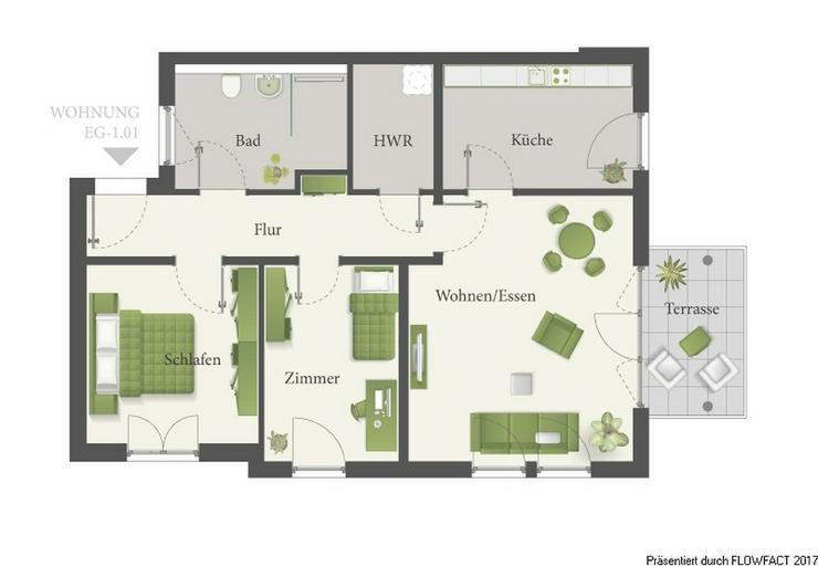 Bild 5: Lossepark - Barrierefreie 3-Zimmer-Eigentumswohnung mit Balkon