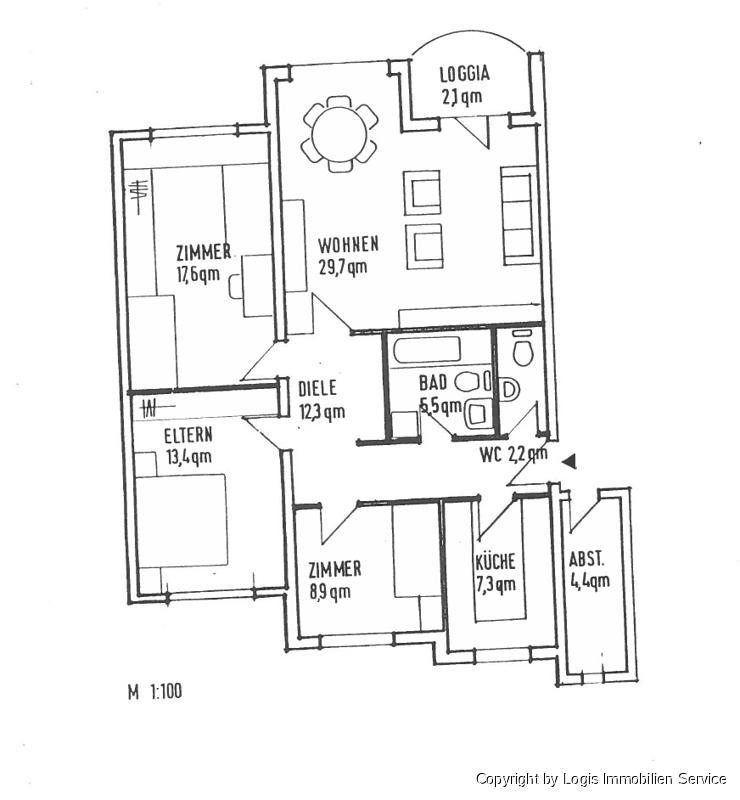 Familienfreundliche Vier-Zimmer-Wohnung mit guter Ausstattung zu vermieten - Wohnung mieten - Bild 1