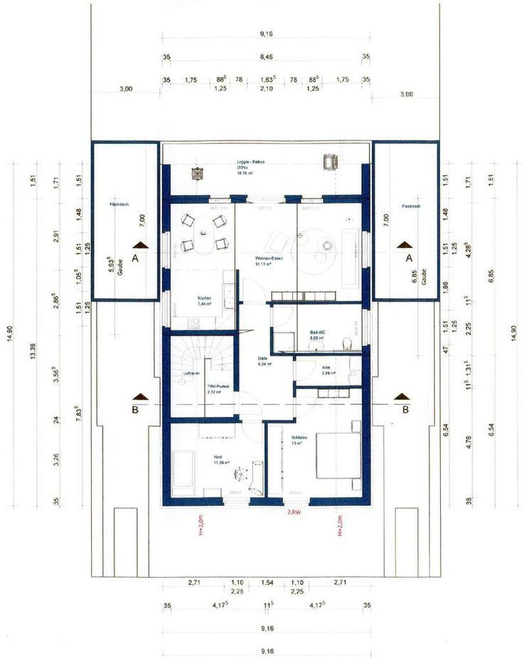Erstbezug! Moderne Dachgeschosswohnung mit Loggia! Eigener Eingang, niedrige Heizkosten!