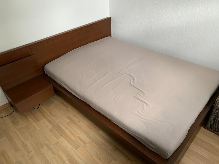 Ikea Malm Bett 140x200 Walnuss + Lattenrost + Nachttisch - Betten - Bild 1