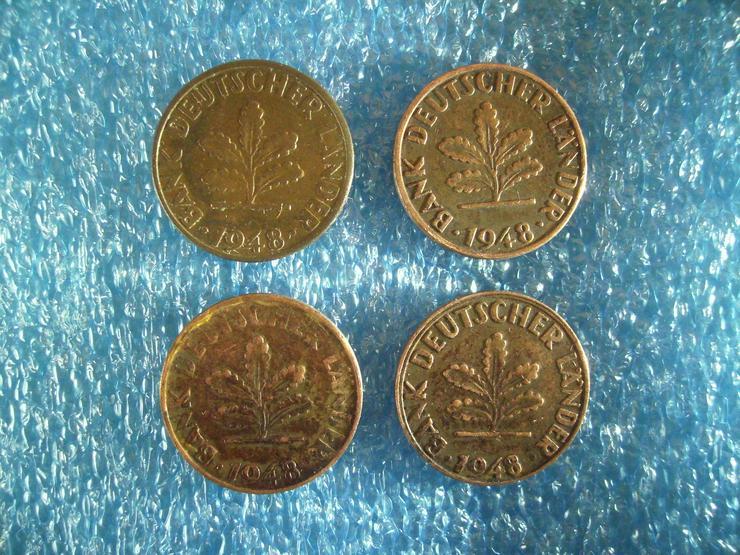 Bild 4: kompletter Münzen-Satz »1 PFENNIG« (D+ F + G + J) Deutschland von 1948 !!!