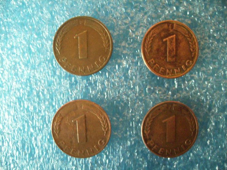 kompletter Münzen-Satz »1 PFENNIG« (D+ F + G + J) Deutschland von 1948 !!! - Deutsche Mark - Bild 1
