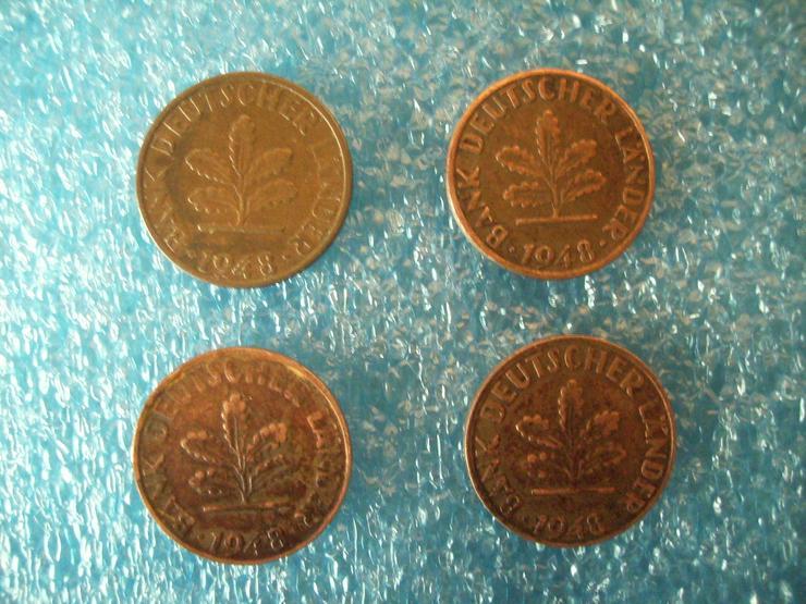 Bild 2: kompletter Münzen-Satz »1 PFENNIG« (D+ F + G + J) Deutschland von 1948 !!!