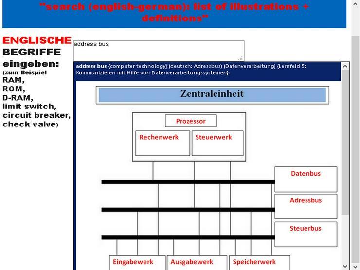 Bild 4: englisch uebersetzen: Gewinde schneiden drehen fraesen schleifen (Bildwoerterbuch