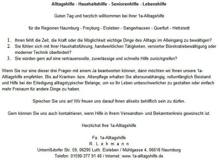 Hettstedt - Alltagshilfe, Haushaltshilfe, Seniorenhilfe