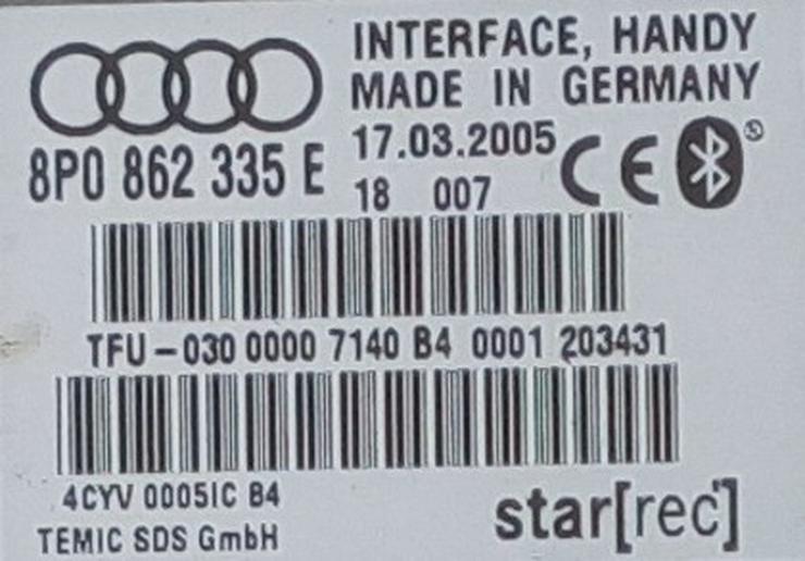 Bild 4: Freisprecheinrichtung Bluetooth - Original Audi 8P0 862 335 E