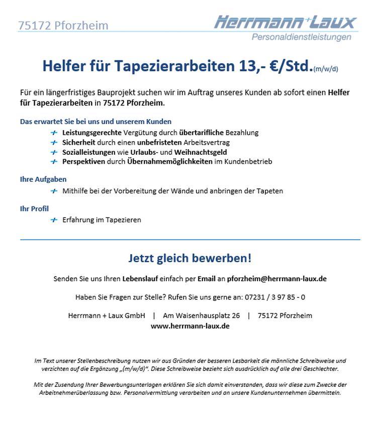 Helfer für Tapezierarbeiten 13,- €/Std.(m/w/d)