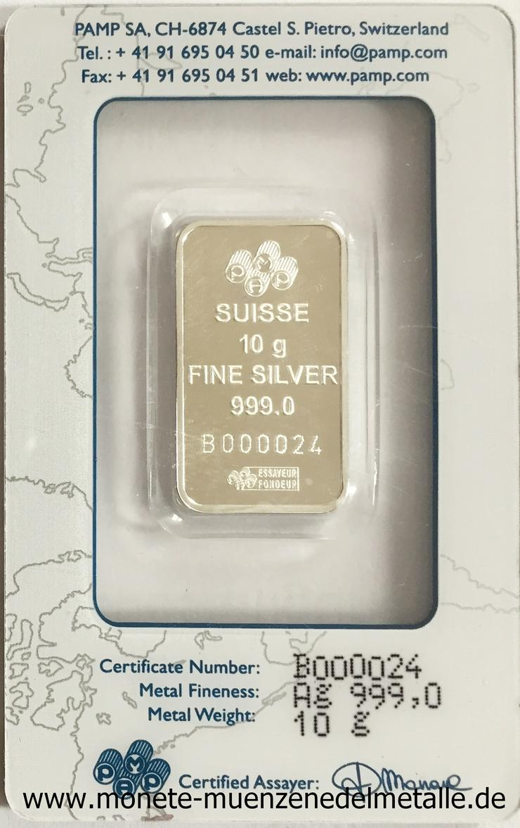 Bild 2: 10 Gramm  Silber Barren PAMP Fortuna