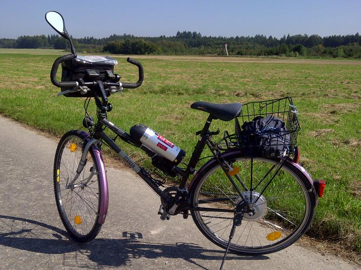 E-Bike Umbau, Saiger Voyager 350 kw mit Anfahrhilfe plus Handyladekabel.