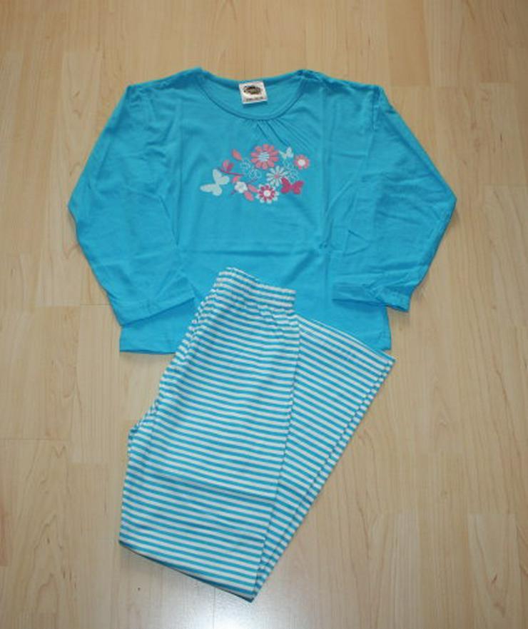 Mädchen Schlafanzug Kinder Pyjama Set blau 122-128
