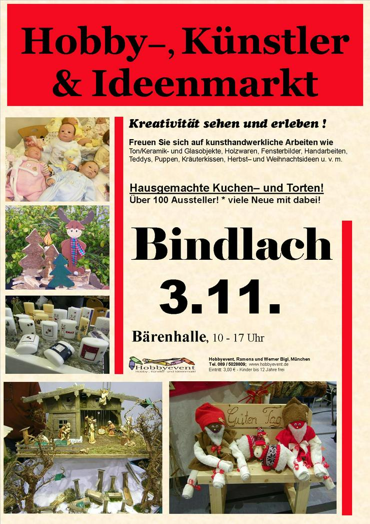 Bindlacher Hobby-, Künstler- und Ideenmarkt am 3.11.19 - Märkte & Messen - Bild 1