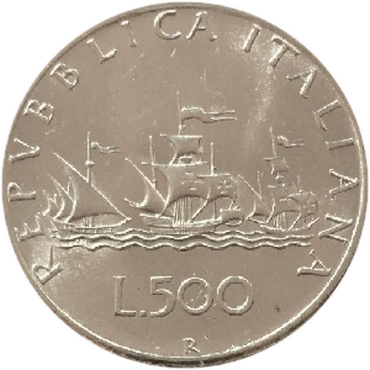 500 Lire Karavellen  Italien Silber Münze - Münzen - Bild 1