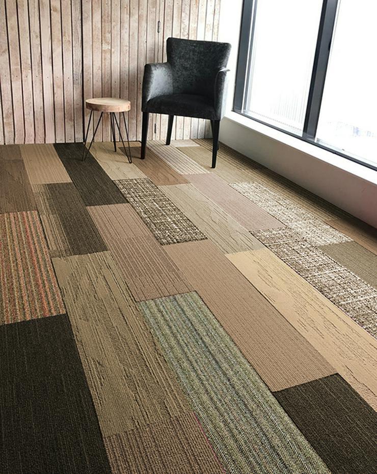 Shades of Brown Skinny Planks 25x100cm Interface Teppichfliesen - Teppiche - Bild 1