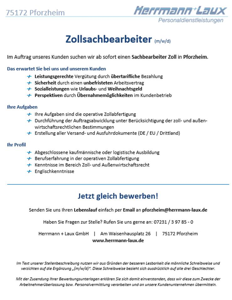 Zollsachbearbeiter (m/w/d)
