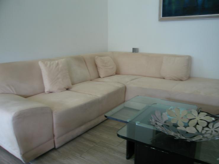 Sofa Rundecke beige Microfaser