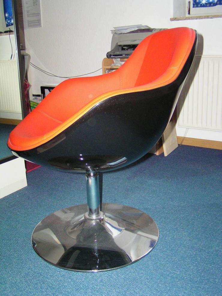Loungesessel Schwarz-Rot Retro Design Hochglanzlackierung Chrom