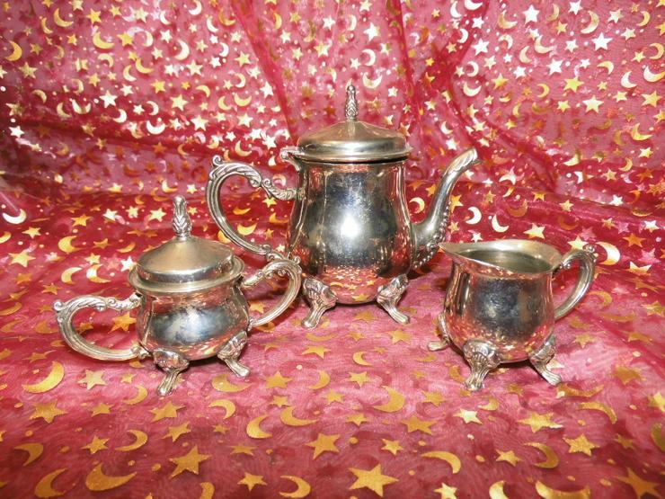 Antikes Jugendstil Mokka Set / Kaffeekanne Milchkännchen Zuckerdose / vernickelt