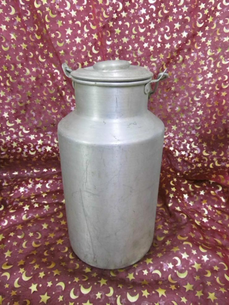 Antike Milchkanne mit Deckel + Henkel / Gefäß Aluminium / 4 Liter / Bauer Deko