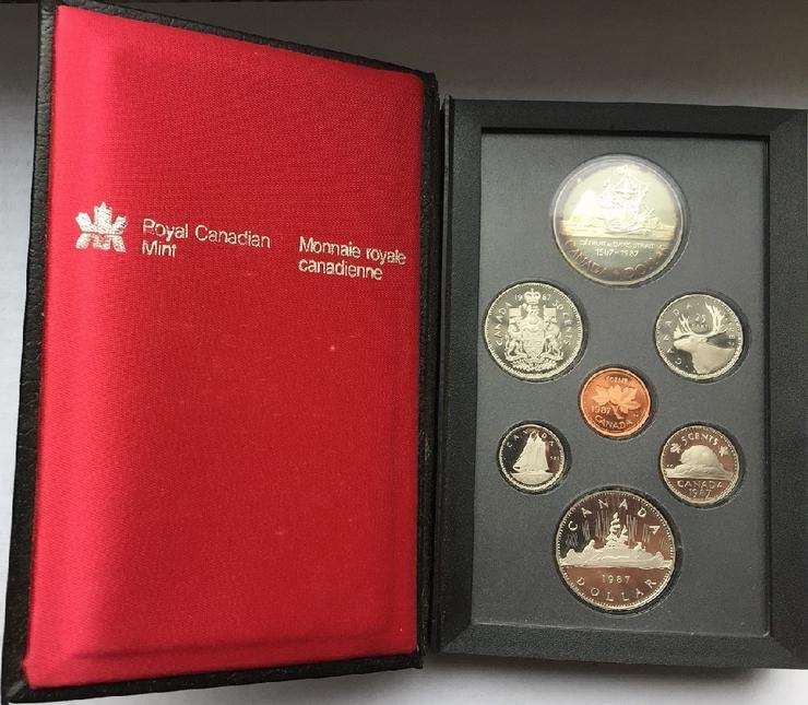 Kanada Kursmünzensatz 1 Dollar - 1 cent 1987 mit silber münzen