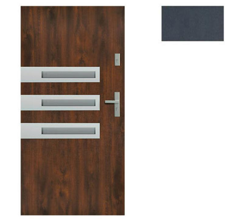 Bild 2: Tür Stahltür Haustür Eingangstür 65 mm warm Wega 90 Goldeiche Nuss Anthrazit