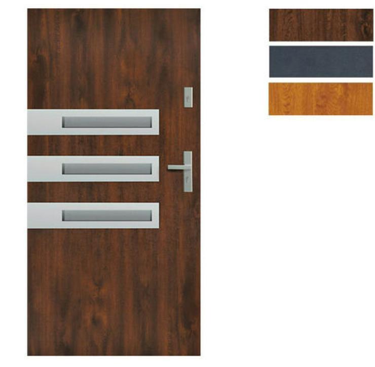 Tür Stahltür Haustür Eingangstür 65 mm warm Wega 90 Goldeiche Nuss Anthrazit  - Türen - Bild 1