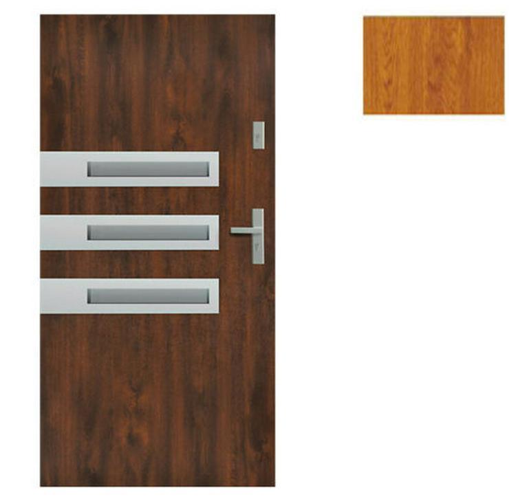Bild 4: Tür Stahltür Haustür Eingangstür 65 mm warm Wega 90 Goldeiche Nuss Anthrazit