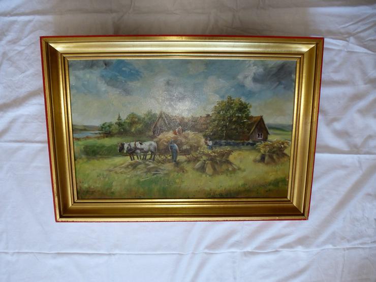 Bild 2:  Gemälde Öl auf Leinwand, signiert W. Grange, Bauernhaus Kornernte