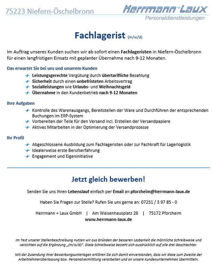 Fachlagerist (m/w/d) - Lagerleiter & Lagerfachkräfte - Bild 1