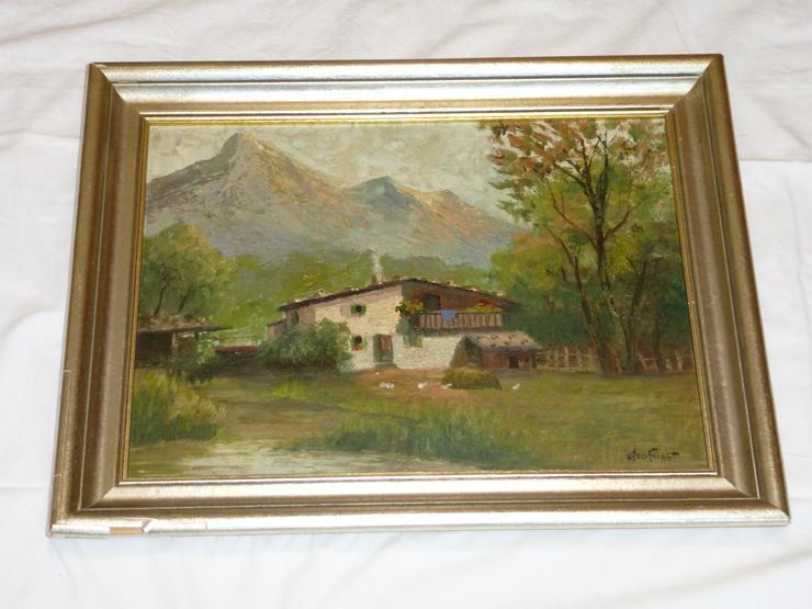 Gemälde Öl auf Leinwand Bauernhof mit Bergen, signiert Geo Fürst