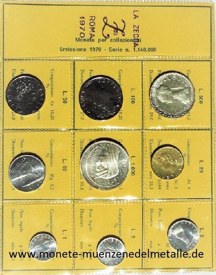 Bild 1: Italien Kursmünzensatz 1 Lire-1000 Lire 1970  Mit Silber Münzen