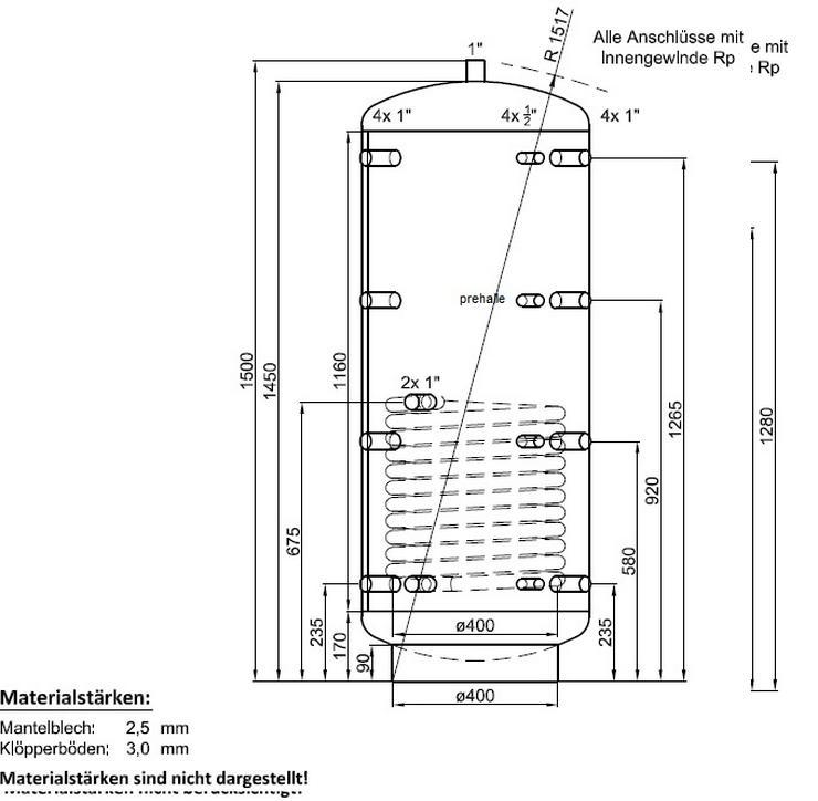 1A Pufferspeicher 300L Warmwasser Speicher für Heizung Solar Ofen - Durchlauferhitzer & Wasserspeicher - Bild 1