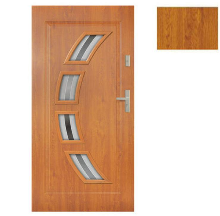 Bild 2: Tür Stahltür Eingangstür Haustür 65mm warm 90 100 Goldeiche Nuss Anthrazit Forte